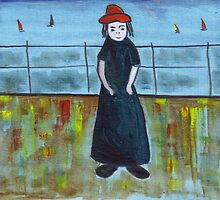 Girl with the red hat by sword