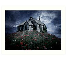 Little hut in a poppy field Art Print