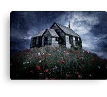 Little hut in a poppy field Canvas Print
