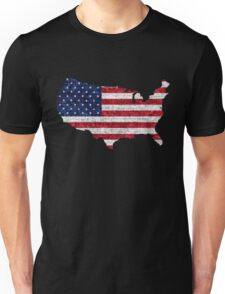 American Flag and Map Burlap Linen Rustic Jute Unisex T-Shirt