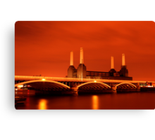 Battersea Powerstation over the river Thames, London Canvas Print