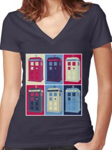 Tardis Warhol Women's Fitted V-Neck T-Shirt