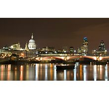 St Paul's at night over the river Thames, London Photographic Print