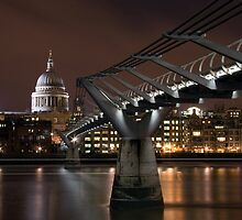 St Pauls and Millennium Bridge at night, London by Andrew Conn