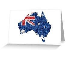 Australia Flag and Map Burlap Linen Rustic Jute Greeting Card