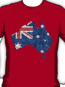 Australia Flag and Map Burlap Linen Rustic Jute T-Shirt