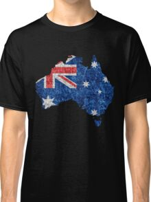 Australia Flag and Map Burlap Linen Rustic Jute Classic T-Shirt