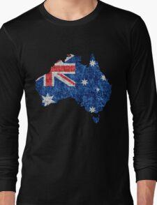 Australia Flag and Map Burlap Linen Rustic Jute Long Sleeve T-Shirt