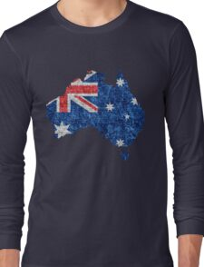 Australia Flag and Map Burlap Linen Rustic Jute Long Sleeve T-Shirt