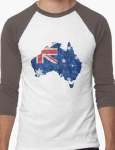 Australia Flag and Map Burlap Linen Rustic Jute Men's Baseball ¾ T-Shirt