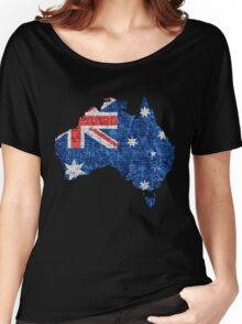 Australia Flag and Map Burlap Linen Rustic Jute Women's Relaxed Fit T-Shirt