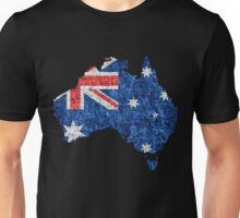 Australia Flag and Map Burlap Linen Rustic Jute Unisex T-Shirt