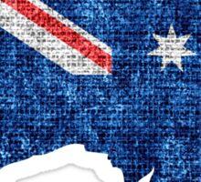 Australia Flag and Map Burlap Linen Rustic Jute Sticker