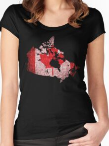 Canada Flag and Map Burlap Linen Rustic Jute Women's Fitted Scoop T-Shirt