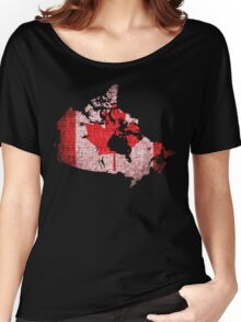 Canada Flag and Map Burlap Linen Rustic Jute Women's Relaxed Fit T-Shirt