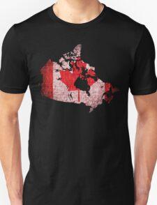 Canada Flag and Map Burlap Linen Rustic Jute T-Shirt
