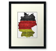 Germany Flag and Map Burlap Linen Rustic Jute Framed Print