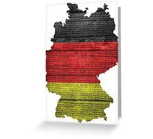 Germany Flag and Map Burlap Linen Rustic Jute Greeting Card