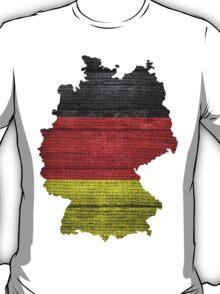Germany Flag and Map Burlap Linen Rustic Jute T-Shirt