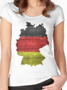 Germany Flag and Map Burlap Linen Rustic Jute Women's Fitted Scoop T-Shirt