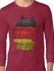 Germany Flag and Map Burlap Linen Rustic Jute Long Sleeve T-Shirt
