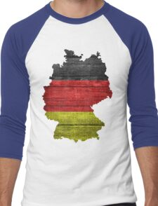 Germany Flag and Map Burlap Linen Rustic Jute Men's Baseball ¾ T-Shirt
