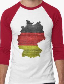 Germany Flag and Map Burlap Linen Rustic Jute Men's Baseball ¾ T-Shirt