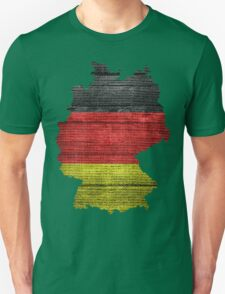 Germany Flag and Map Burlap Linen Rustic Jute T-Shirt