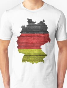 Germany Flag and Map Burlap Linen Rustic Jute Unisex T-Shirt