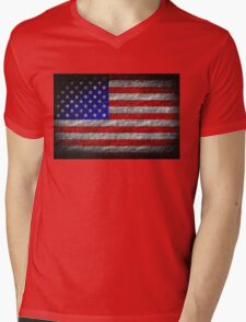 American Flag Grunge on Burlap Linen Rustic Jute Mens V-Neck T-Shirt