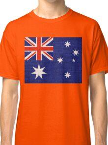 Australia Flag Burlap Linen Rustic Jute Classic T-Shirt