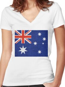 Australia Flag Burlap Linen Rustic Jute Women's Fitted V-Neck T-Shirt