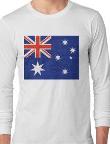 Australia Flag Burlap Linen Rustic Jute Long Sleeve T-Shirt
