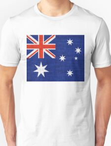 Australia Flag Burlap Linen Rustic Jute T-Shirt
