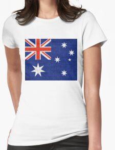 Australia Flag Burlap Linen Rustic Jute Womens Fitted T-Shirt