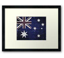 Vintage Australia Flag Burlap Linen Rustic Jute Framed Print