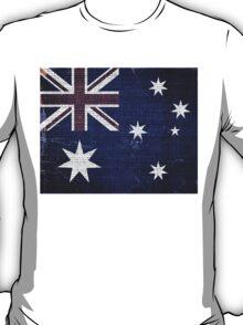 Vintage Australia Flag Burlap Linen Rustic Jute T-Shirt