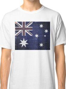 Vintage Australia Flag Burlap Linen Rustic Jute Classic T-Shirt