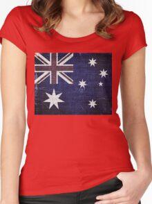 Vintage Australia Flag Burlap Linen Rustic Jute Women's Fitted Scoop T-Shirt