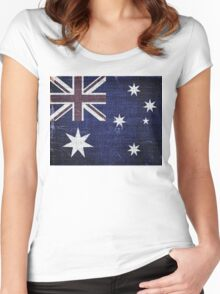 Vintage Australia Flag Burlap Linen Rustic Jute Women's Fitted Scoop T-Shirt