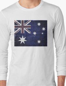 Vintage Australia Flag Burlap Linen Rustic Jute Long Sleeve T-Shirt