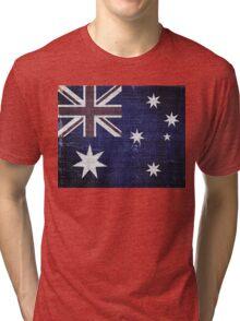 Vintage Australia Flag Burlap Linen Rustic Jute Tri-blend T-Shirt