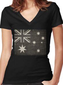 Old Australia Flag Burlap Linen Rustic Jute Women's Fitted V-Neck T-Shirt