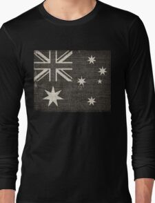 Old Australia Flag Burlap Linen Rustic Jute Long Sleeve T-Shirt