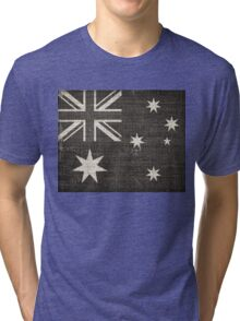 Old Australia Flag Burlap Linen Rustic Jute Tri-blend T-Shirt