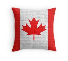 Canada Flag Burlap Linen Rustic Jute Throw Pillow