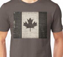 Old Canada Flag Burlap Linen Rustic Jute Unisex T-Shirt