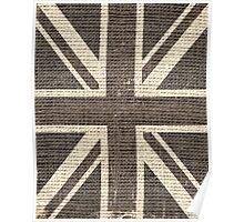 Vintage Britain Flag Burlap Rustic Jute Poster
