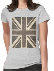 Vintage Britain Flag Burlap Rustic Jute Womens Fitted T-Shirt