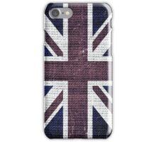 Vintage Britain Flag Burlap Rustic Jute #2 iPhone Case/Skin